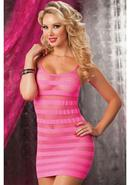 Riot Girly- Net Striped Dress -pink Qs